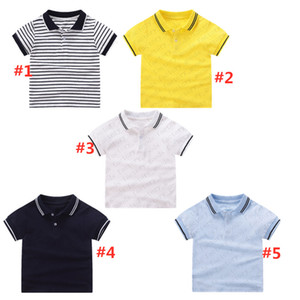 Summer Clothes Striped Polos Shirt Kids T-shirt Short Sleeve Sports Top Casual Tees Fashion Boys Girls Tshirts Kids Solid Color Tees CZ311