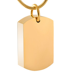 IJD8416 Gold Dog Tag Cremation Holder Cenizas Urna Contenedor Grabado gratuito Personalizado Recuerdo personalizado Recuerdo Colgante Collar