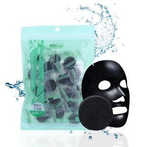 30Pcs Black Compressed Mask Disposable Facial Natural Bamboo Charcoal Black Mask Paper Skin Care Wrapped Masks DIY Beauty Makeup