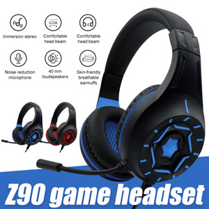 Perakende Box Mic Kulaklık İçin PC Laptop Cihazı ile Z90 Gaming Headset Aşırı Kulak Oyun 3.5mm Tel Kulaklık Gürültü Azaltma