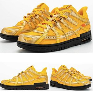 2020 New designer WHITE x Rubber Dunk running shoes Black Gold strike University Gold Athletic men sports Trainers sneakers CU6015-700