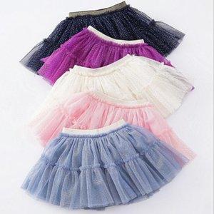 Las faldas del tutú de Pettiskirt Kids Gold sello Dot falda de tul de vestuario dancewear princesa faldas de verano mini vestido del ballet faldas plisadas YP194