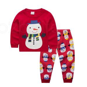 Bambino di natale Tema del vestito 27 di disegni dei ragazzi Cartoon Babbo Natale a strisce casuale Outfits Kids Designer vestiti delle ragazze cotone stampato Imposta RRA2221