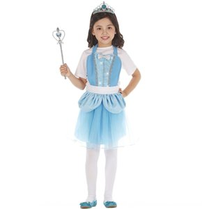 Blue cute skirt for children and women stage performance makeup dance party Princess dress Princess dress culture
