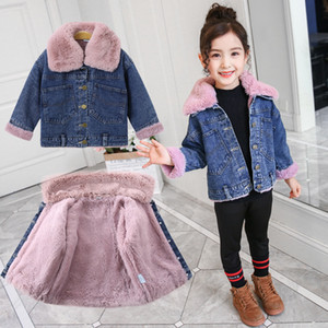 Nuova ragazze di inverno denim cappotti bambini Teenager Girl caldo Outerwear Outfits Moda cotone spesso più velluto giacche per 4-10Y