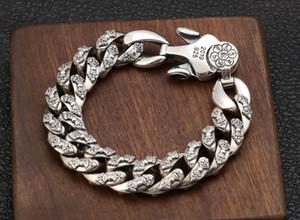 Solido argento 925 Vajra Om-mani-padme hum-monili del braccialetto di collegamento Chain Bracciale A4559 uomo