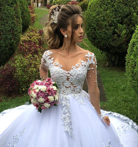 Arabic Vintage Lace Beaded Wedding Dresses Sheer Neck Long Sleeves Bridal Dresses Sexy Tulle Wedding Gowns
