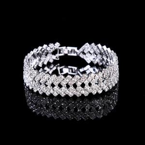 Rangées Autriche CZ Strass Bracelet Cristal Femmes Multi-couche De Mariée Strass Bracelet Bracelet Bracelet Bracelet pour Robe De Noce