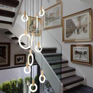 Araña de madera LED contemporánea que enciende los anillos de acrílico Led Droplighs iluminación de la escalera 3/5/6/7/10 Anillos Accesorio de iluminación interior