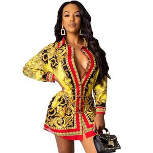 Sonbahar Tasarımcı Gömlek Elbise Kadın Dijital Baskılı Gevşek Elbiseler Moda Kadın Uzun Kollu Giyim
