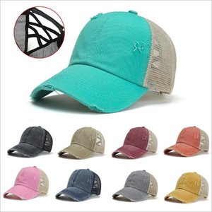 Ponytail Baseball Caps Cross Back Messy Buns Hats Girl Fashion Summer Washed Cotton Cap Unisex Sun Visor Hat Outdoor Snapbacks Caps B7586