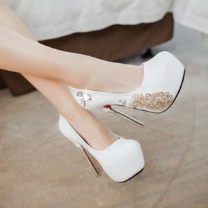 Yeni Seksi Yüksek Topuklar Elegant Süet kristal taklidi Abiye Ayakkabı 34-42 beden Gece kulübü Parti Düğün Ayakkabı Kadınlar Pumps2019