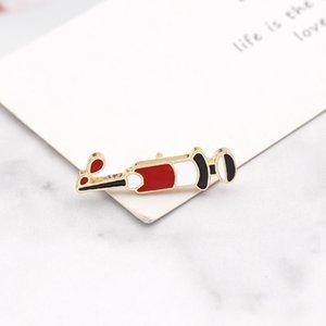 Iniezione Siringa Pin Spilla Medico Infermiere iniettore spilla gioiello Medical Spillette Denim Giacche collare distintivo Pins