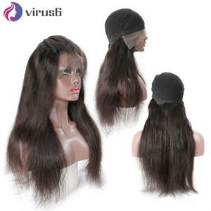 Reta dianteira do laço de cabelo humano peruca de Pacotes com 13x4 frontal Encerramento peruca 250 Densidade Glueless Cap peruca Dome