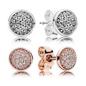 Роскошный дизайнер ювелирных изделий серьги 925 стерлингового серебра для Pandora круглый CZ алмаз моды темперамент женские серьги серьги с коробкой