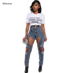 Waterarea 2020 Frauen mit hohen Taille Ausschnitt reizvollen Verein Jeans Loch mit Taille Street Style Langen Lady Jeans Mode Jean-Hosen-Hose