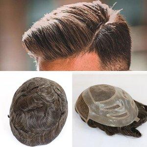 Erkekler Avrupa Remy İnsan Saç Değiştirme Sistemleri postiş 10x8inch için Fransız Dantel Peruk ile Erkek peruk Saç PU