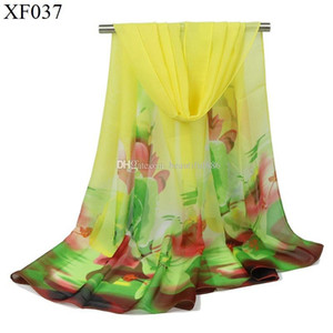 2018 new fashion rose flowers scarf women chiffon shawl thin long soft shawls and printing polyester scarves wholesale