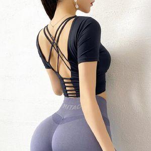 kurz Frauen Yoga Shirts Sleeve Sexy Back Straps Gym Yoga Crop Tops Trainings Top Fitness Laufen Sport-T-Shirts