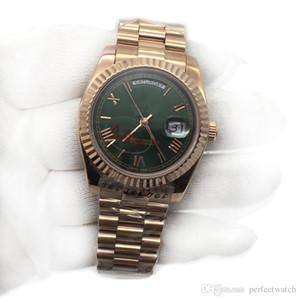 Orologio automatico da uomo Day-Date quadrante verde oro rosa orologio da uomo scivolo liscio di seconda mano zaffiro Cystal uomini orologi meccanico in acciaio inossidabile