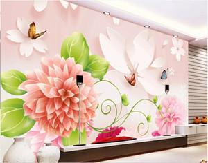 3d комната обои на заказ фотообои бабочка цветок любви 3D мода тв фон домашний декор wall art pictures обои для стен 3 d