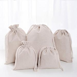 Bolsas de lino con cordón Bolsas de compras reutilizables Fiesta Candy Favor Saco Algodón Embalaje de regalo Bolsas de almacenamiento DHL WX9-1488