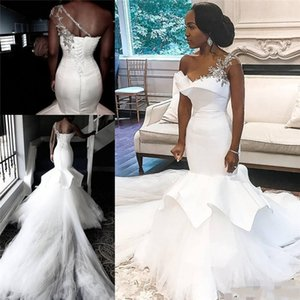 African One-Shoulder Wedding Dresses Mermaid Beaded Lace Up Plus Size Bridal Gowns Bride Dress Robe De Mariee 2020 T200604