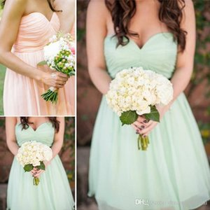 Country Short Bridesmaid Dresses Cheap A Line Sweetheart Pleats Beach Bridesmaid Gowns Chiffon Short Prom Party Dresses SB144