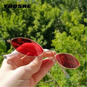 YOOSKE Узкие Овальные очки Женщины 90s Vintage Small Cat Eye ВС Glassses Мужчины металлический каркас Крошка Маленький круглый Sunglass UV400