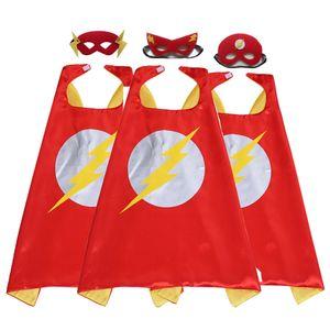 27 pouces cape de superhero de dessin animé flash et masque ensemble pour enfants enfant super hero jouets deguisements faveurs de fête d'anniversaire fournitures cadeaux de noel