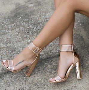 Zapatos del partido del verano transparente atractiva XingDeng Damas vendaje Flock sandalia 35-42 SizeWomen cierre de tiras de las sandalias de tacón alto Zapatos