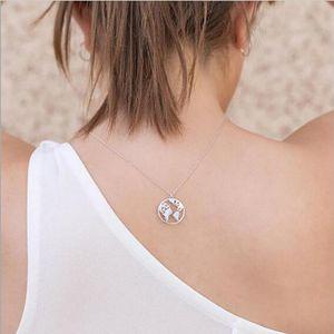 Карта мира сплава литого Подвесок Круг Lariat золото серебра гальванического Металлические цепи для женщин ожерелья Любови подарок