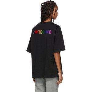 19SS Moda camiseta de la manera Negro I Love Techno manga corta de gran tamaño de algodón para hombre y mujeres de la camiseta HFWPTX379