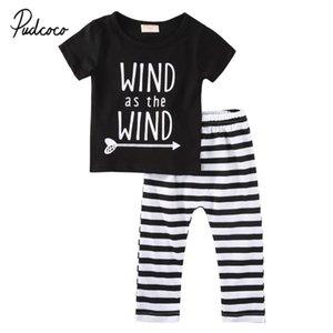pudcoco 2019 del bambino di estate dei ragazzi vestiti appena nati 2 pezzi lettera stampa Tops + pantaloni a strisce per la femmina Outfit Abbigliamento Bambino Set 0-18M