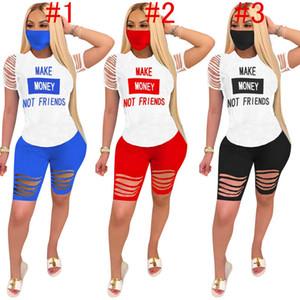 Les femmes d'été Survêtement faire de l'argent pas des amis lettre Ondulé Trous 2pcs Set T Shirt + Biker Shorts Designer Outfit Sweatsuit D61511