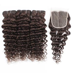 4 * 4 dantel kapatılması ile kapatma bakire Hint insan saçı atkılı Kisshair 2. en koyu kahverengi Derin Dalga saç demetleri