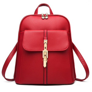 Art und Weise Frauen-Rucksack PU-Leder Jugend Leder Rucksack für weibliche Teenager Weiblicher Schule Umhängetasche Bagpack Mochila Red