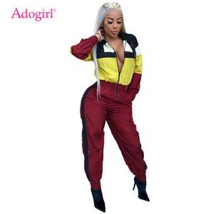 Adogirl цвет лоскутное комбинезон с капюшоном на молнии спереди с длинным рукавом свободный комбинезон женщин спортивный костюм повседневная уличная одежда женский комбинезон MX190726