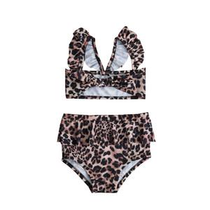 2шт малыш девочка Леопард рябить купальники купальный костюм Высокая Талия бикини купальник наряды
