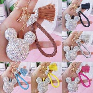 Wholesale Women Elegant Bling Full Rhinestone Crystal Sparkly Cute Mouse Charm Cartoon Tassel Car Purse lanyard Key Chain Ring Keychain