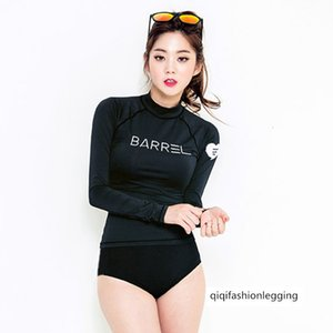 Long Sleeve sunscreen women's large size split flat angle high waist sports diving suit jellyfish swimsuit
