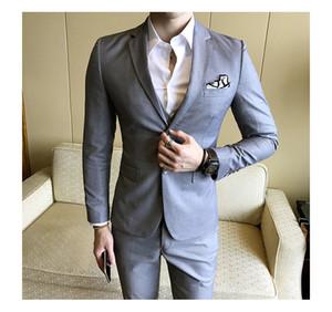 Color sólido slim fit trajes de 3 piezas masculinos vestido de novia hombres Business Casual blazer Wedding Prom Dinner Suits Groomsman Wear esmoquin