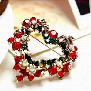 Noel Retro Altın Renk Aşk Çelenk Kalp Nefis Kristal Broş Kadınlar Şal Toka iğneler Takı
