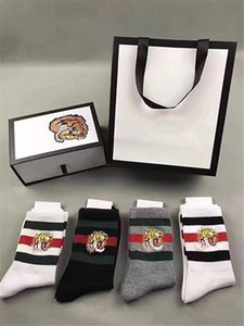 Fashion 4 Color Four Pairs Ace Embroidery Tiger Head Socks Antibacterial Deodorant Cotton Fashion Unisex Sport Socks Send With Box