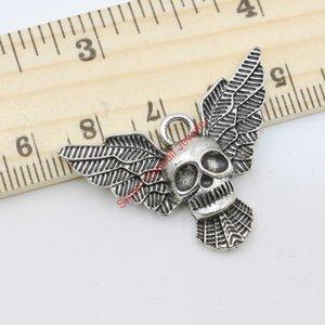 Wholesale- antike Silber überzogene Flügel-Schädel-Charme-Anhänger für Schmucksachen, die DIY handgemachte Fertigkeit 25x30mm B116 Schmucksachen, die DIY