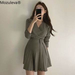 Mozuleva stilvoller V-Ausschnitt Lace Up Strickkleid Frauen-volle Hülsen-Büro-Damen A Line Pullover Kleid weiblich Knitting Vestidos