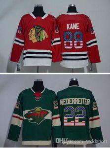 2018 USA Flag Jerseys Minnesota Wild 22 Nino Niederreiter Chicago Blackhawks 88 Patrick Kane Stitched Hockey Jerseys