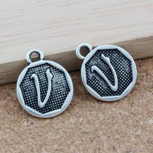"""Alfabeto disco """"v"""" encantos de la aleación 100 unids / lote antiguo de plata colgantes de joyería de moda DIY 14.8x28.2 MM A-390"""