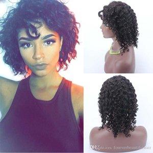 """Цена со скидкой 14"""" Silk Top фронта шнурка парики перуанский Glueless Silk Base парик Короткие вьющиеся Кружева передние парики для чернокожих женщин"""