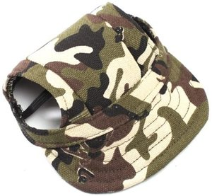 OCSOSO Pet Dog Canvas Hat Sports Baseball Cap with Ear Holes for Small Medium Dogs
